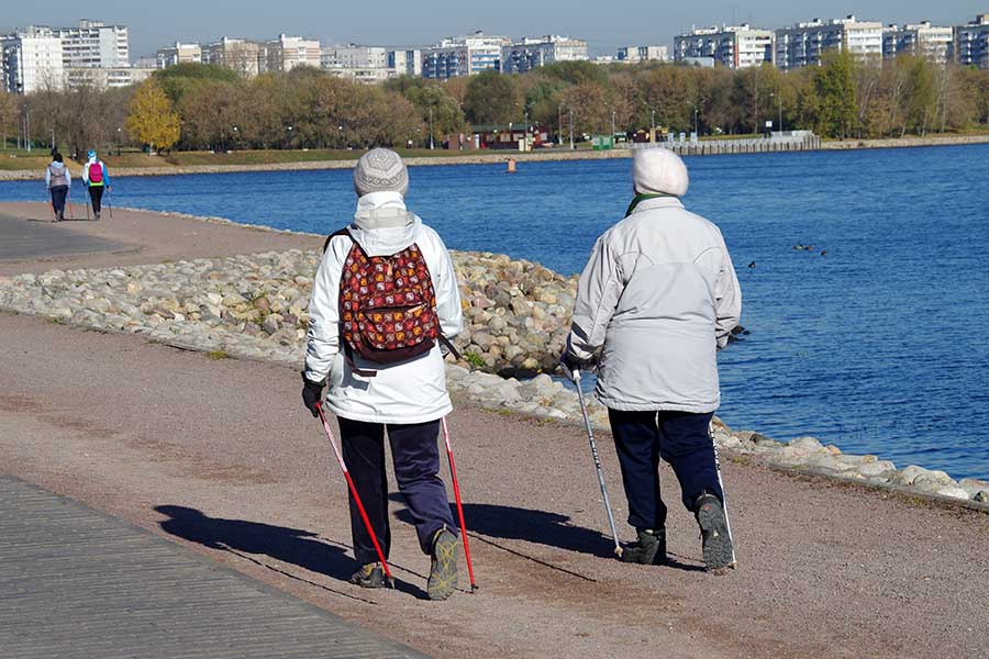 two friends nordic walking together