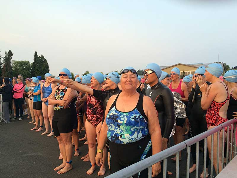 triathlon participant at swim start