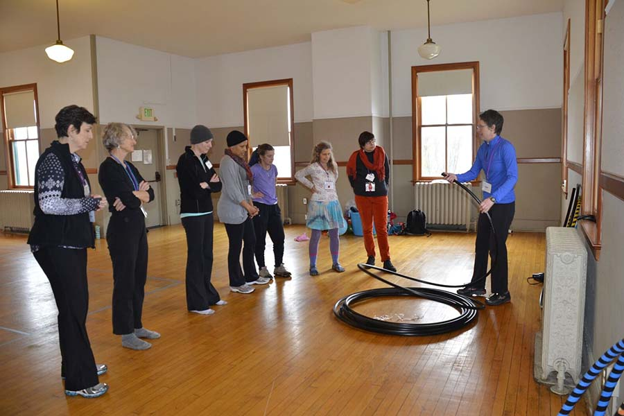 chemo patients exercising with hula hoops
