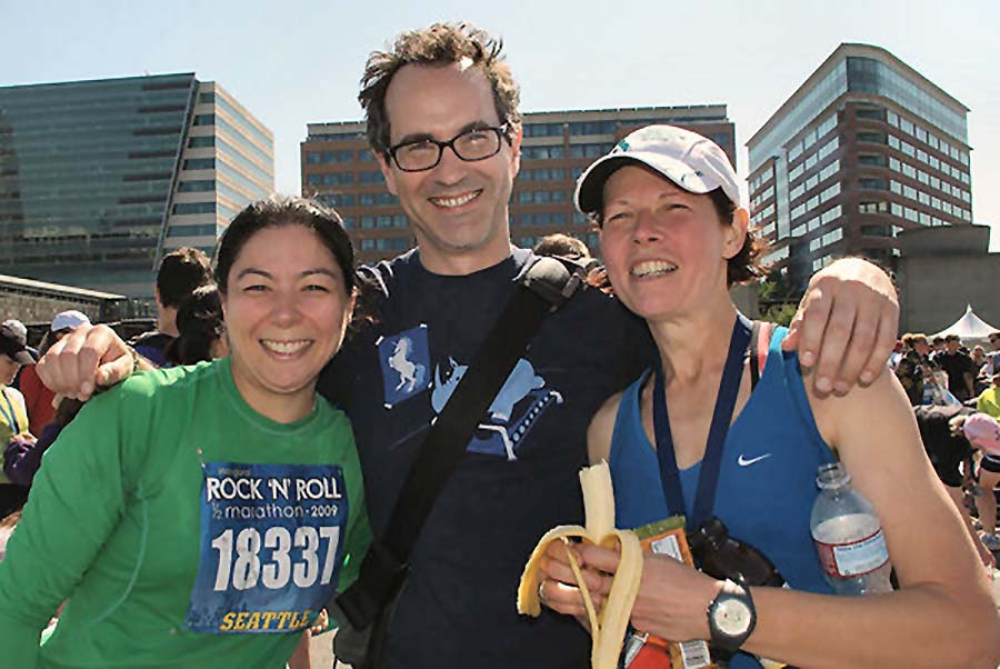 runners smiling after the marathon